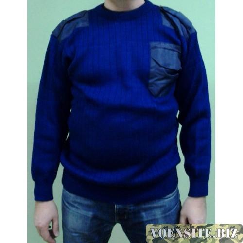 Свитер с накладками синего цвета п/ш с круглым воротом